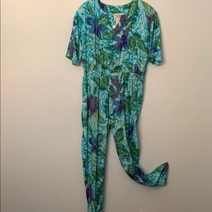 Vintage Floral Jumpsuit Medium Two Potato 80s 90s